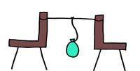 椅子を使って風船を吊るす