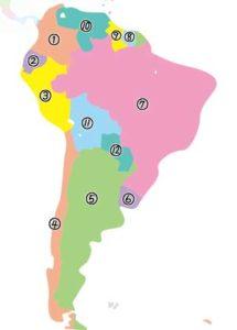 南米諸国の地図